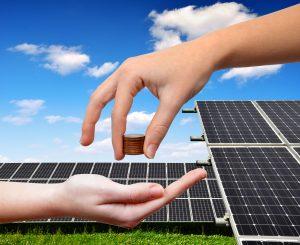 Person saving money with solar panels